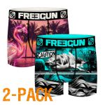 Freegun heren boxershorts microvezel Duo 'Animals neon'